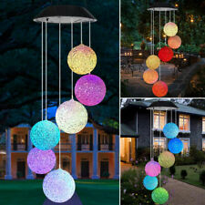 Solar LED Garden Wind Chimes outdoor Colour Changing Xmas Lights large Hanging