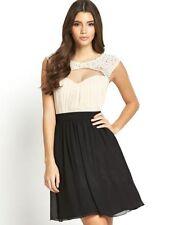 Little Mistress Cream and Black Embellished Dress  UK Size 10