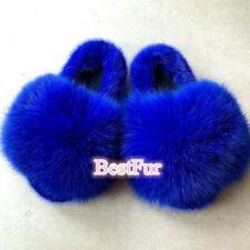 Royal Blue-Women's Slides Real Mink Fur Fox Fur Slippers Sandals Furry Shoes