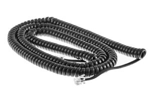 50 Foot Modular Telephone Coiled Handset Cord Phone, 50' BLACK Color Phone Cord