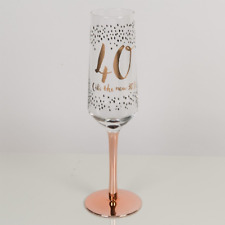 Hotchpotch Luxury Champagne Prosecco Flute Glass Rose Gold Stem 40th Birthday