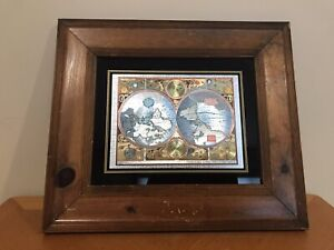 A New And Accvrat Map Of The World 1626 Foiled World Map Framed Wood Frame
