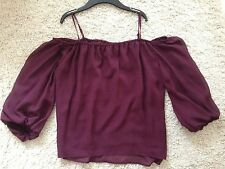 NEU H&M TREND Off Shoulder  Bluse Gr. 38 M weinrot schulterfrei rot Blogger