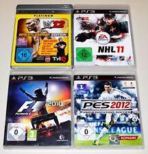 4 PlayStation 3 ps3 colección de juegos-WWE 12 pes 2012 NHL 11 formula 1 f1 2010