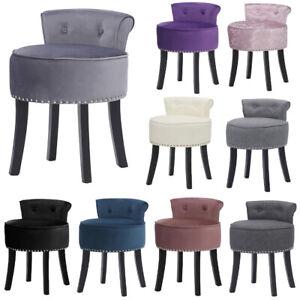 Velvet/Linen/Leather Buttoned Back Vanity Stool Padded Seat Side Chair w/ Rivets