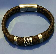 Brown Stainless steel Genuine leather bracelet wristband women's jewelry Sz7.5