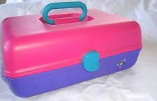 CABOODLE LARGE 80s-90s Pink Purple Make-up Craft Organizer Storage Box w Mirror