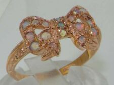 Luxury 9ct Rose Gold Ladies Colorful Fiery Opal Vintage Style Bow Ring
