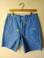 "Vineyard Vines Men's Shorts Blue 9"" Breaker Size 32 Fish Skeleton"