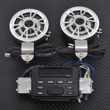 2x Motorcycle Audio FM Radio MP3 iPod Stereo Chrome Speakers Sound System P TK11