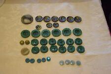 40+7 bottoni vari toni del verde vintage (59)  Knoepfe Boutons Buttons ^