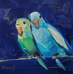 JOSE TRUJILLO Oil Painting IMPRESSIONISM CONTEMPORARY PARAKEETS SIGNED COA
