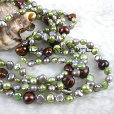 "51"" 4-9mm Green Gray Coffee Baroque Freshwater Pearl Necklace Jewelry U"