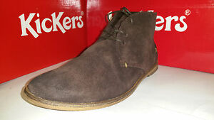 Kickers River 3 laced Ankel Boots Dark Brown Suede Mens Shoes size US 7.5-12
