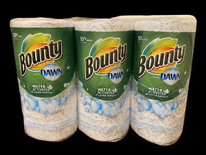 (3) BOUNTY WITH DAWN  50% MORE WATER ACTIVATED PAPER TOWELS