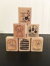 Stampin Up!  TAGS SO MUCH Wood Mounted Rubber Stamp Set 2006 Retired Used Clean