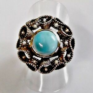Antik Style Türkis Saat Perlen Lotperlen Ring 925er Sterling 52 (16,5 mm Ø)