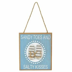 Department 56 Coast to Coast Sandy Toes Salty Kisses Sign Wall Decor 6.69 Inch