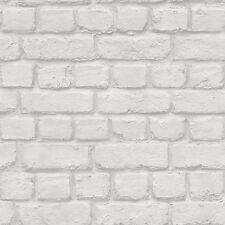 Gris Clair Mur de Briques Papier Peint Effet - Rasch 226713 - Neuf
