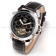 JARAGAR automatic mechanical gents Watch leather Strap Fluoresce Date Skeleton