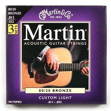 Martin 3 PACK Bronze Acoustic Guitar Strings Custom Light 11 - 52