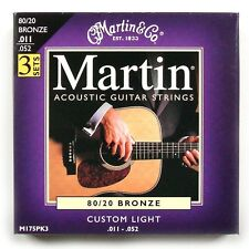 Martin 3 Pack Bronce Guitarra Acústica Cuerdas Luz Personalizada 11 - 52