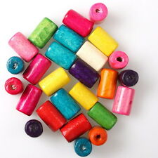 400x 112635 Wholesale New Assorted Colorful Column Wooden Spacer Beads Findings