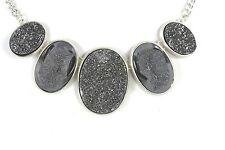 D9 Fools Gold Sanding Texture Silver Metallic Oval Necklace Earrings Boutique