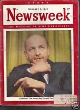Newsweek Magazine Lilienthal-Atom  February 7, 1949