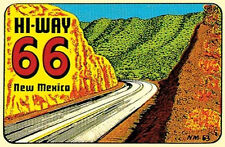 Hi-Way  Route 66   New Mexico  Vintage  1950's Style    Travel Sticker Decal