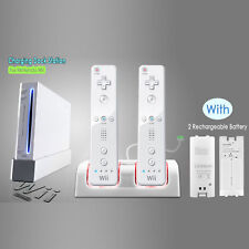 New 2 Rechargeable Battery Nintendo Wii Dual Charger Charging Dock Station