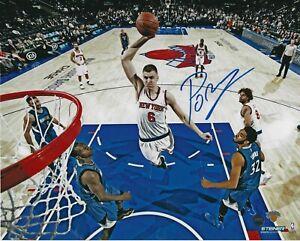 Kristaps Porzingis signed 8x10 auto photo New York Knicks autograph STEINER #1