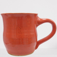Jennifer L'Heureux Studio Pottery Coffee Mug Nelsonville Ohio Orange Speckle USA