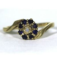 Vintage Diamond & Sapphire 9ct Yellow Gold Bypass Cluster ring size L ~ 5 3/4