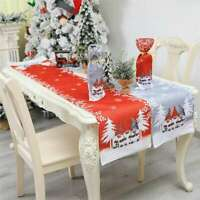 Christmas Linen Table Runner Cover Cloth Decor Dinner Tablecloth Xmas Party