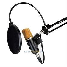 USB Studio Condenser Vocal Microphone Reverb PC Recording Mic+ Stand+Shock Mount