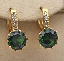 18K Gold Filled - 9mm Round Emerald Topaz Flower Zircon Hoop Women Earrings DS