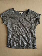 Michael By Michael Kors Grey Sequin Top (Used) Size XS