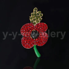 Red Remembrance Poppy Pins Brooch Banquet Crystal Badge Flower Souvenir Gift 1Pc