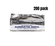 Premium Aluminum Silver Foil Sheets 200 Count, 12