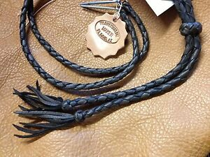 USA BRAIDED LEATHER DEERSKIN any length STAMPEDE STRING HANDMADE HANDBRAID BLACK