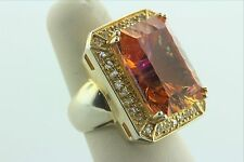 Sterling Silver 925 Gold Vermeil Large 20.0ct Emerald Cut Pink-Orange Stone Ring