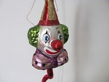 LARGE GLASS CIRCUS CLOWN SPIRAL CHRISTMAS ORNAMENT  ( MADE IN POLAND)