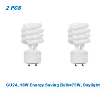 2 Bulbs, Twister GU24, 18W Energy Saving Bulb=75W, Daylight 5000K, UL Listed