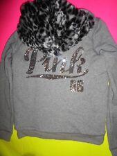 Victorias Secret Pink Bling Hoodie Small Faux Fur Leopard Gray Script Jacket HOT