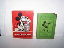 1940's? Mickey Mouse Tin Book Bank w/Ob & Key-Zell Prods.
