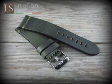Cinturino in Pelle Vintage ILLINOIS 24 mm Watch Strap Band Verde petrolio