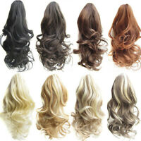 Women Synthetic Claw Clip Ponytail Extension Curly Wavy Pony Tail Hair Piece