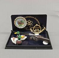 9911079 Reutter Puppenstuben-Miniatur Jagdausstattung Flinte Enten Horn Teller