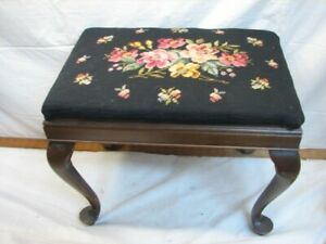 Vintage Needlepoint Cross Stitch Top Foot Stool Bench Rest Decor Seat Floral L